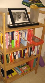 Leslie's organized bookshelf